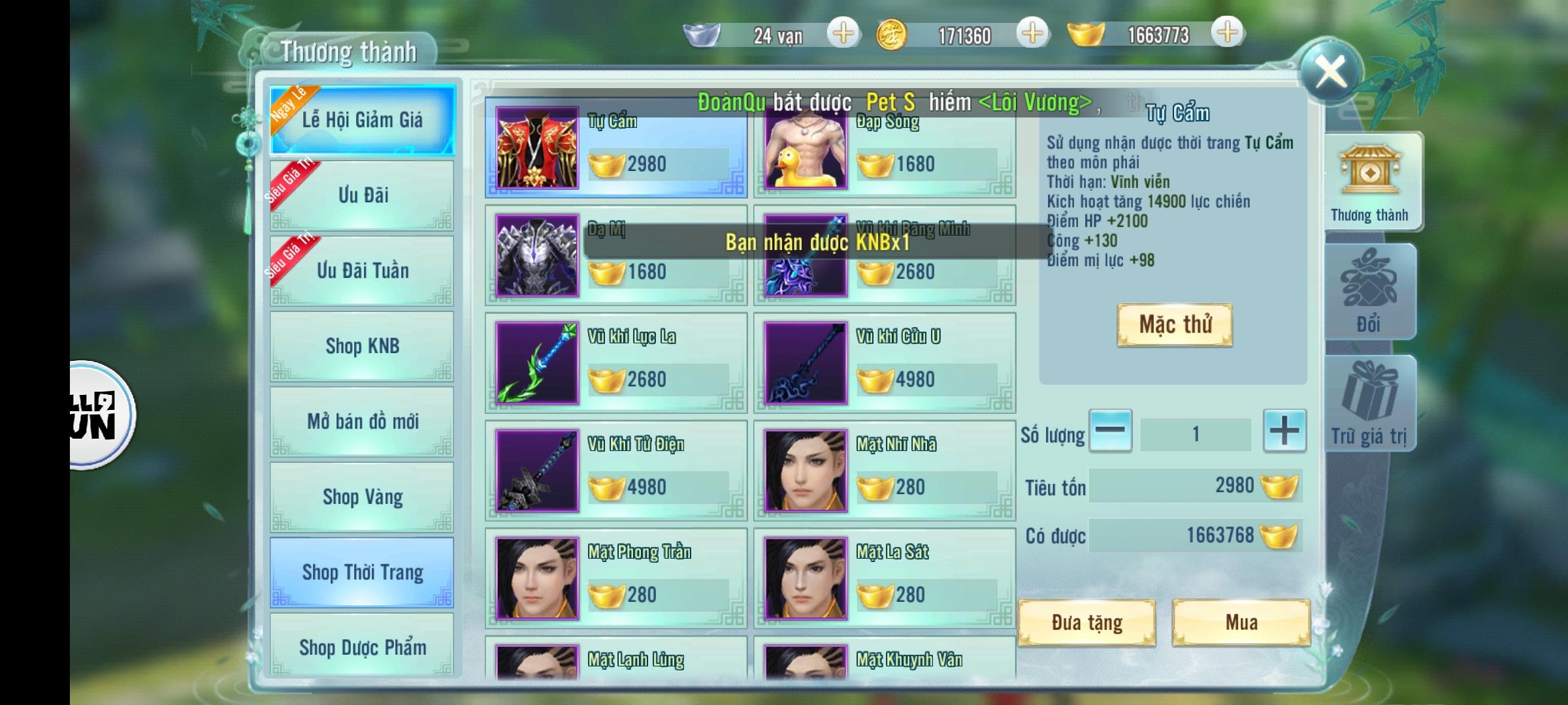 Nhất Kiếm Giang Hồ Private   Free VIP 22   999999 KNB   Đầu Game Lv.35   Train Quái Rớt KNB 3