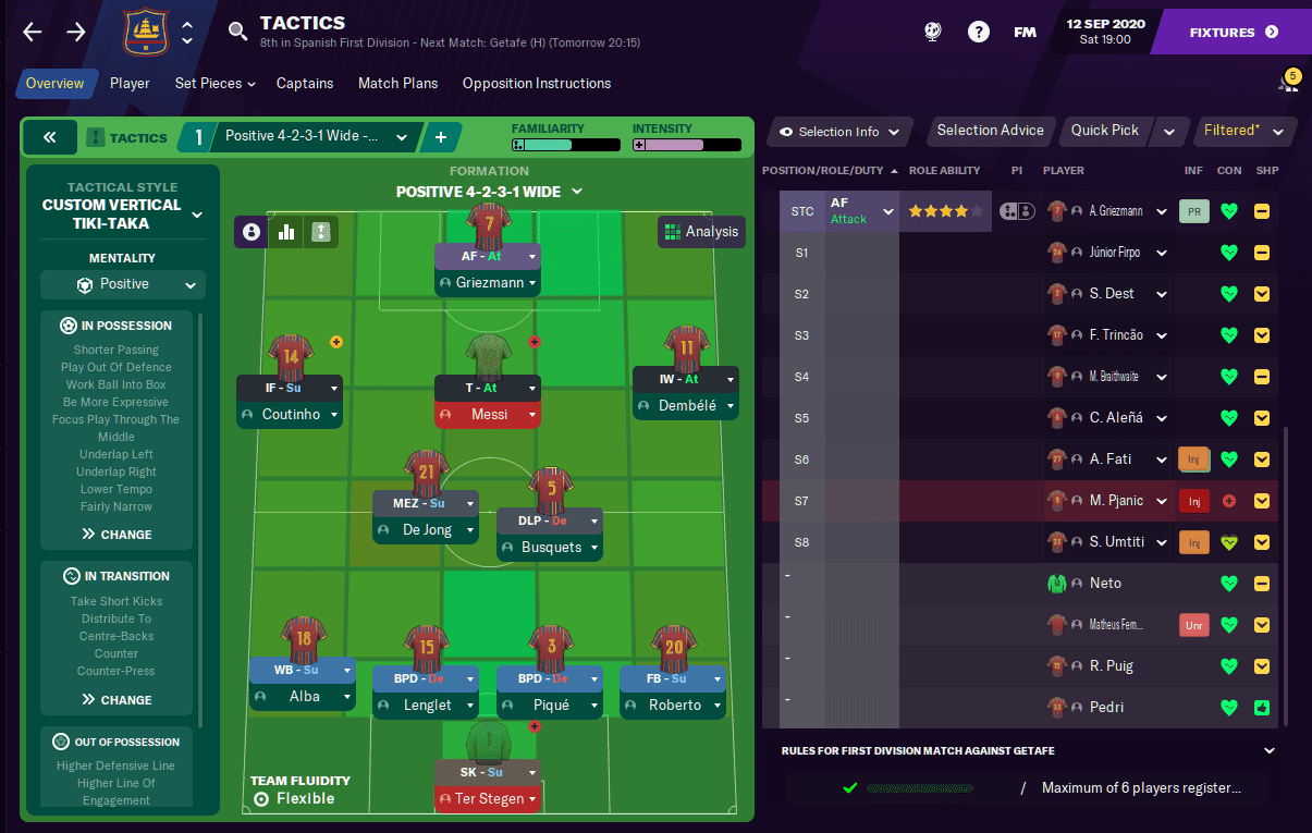 Football Manager 2021 Barcelona tactic FM21