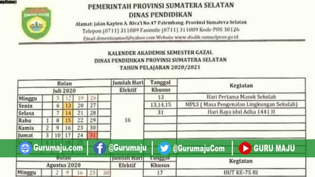Kalender Pendidikan 2020/2021 Provinsi Sumatera Selatan