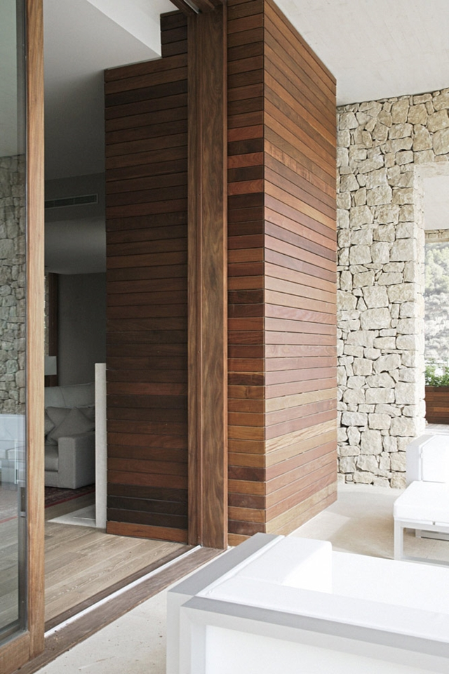 Wooden planks on the wall