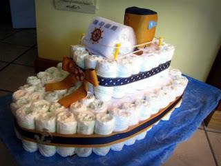 bolo de fralda navio