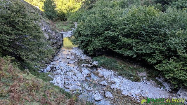 Primer puente sobre el río Duje en la zona alta de Tielve.