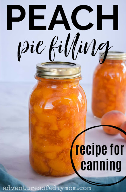 peach pie filling in a canning jar