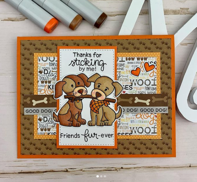 Thanks for sticking by me by Meghan features Puppy Pals by Newton's Nook Designs; #inkypaws, #newtonsnook, #cardmaking, #puppycard