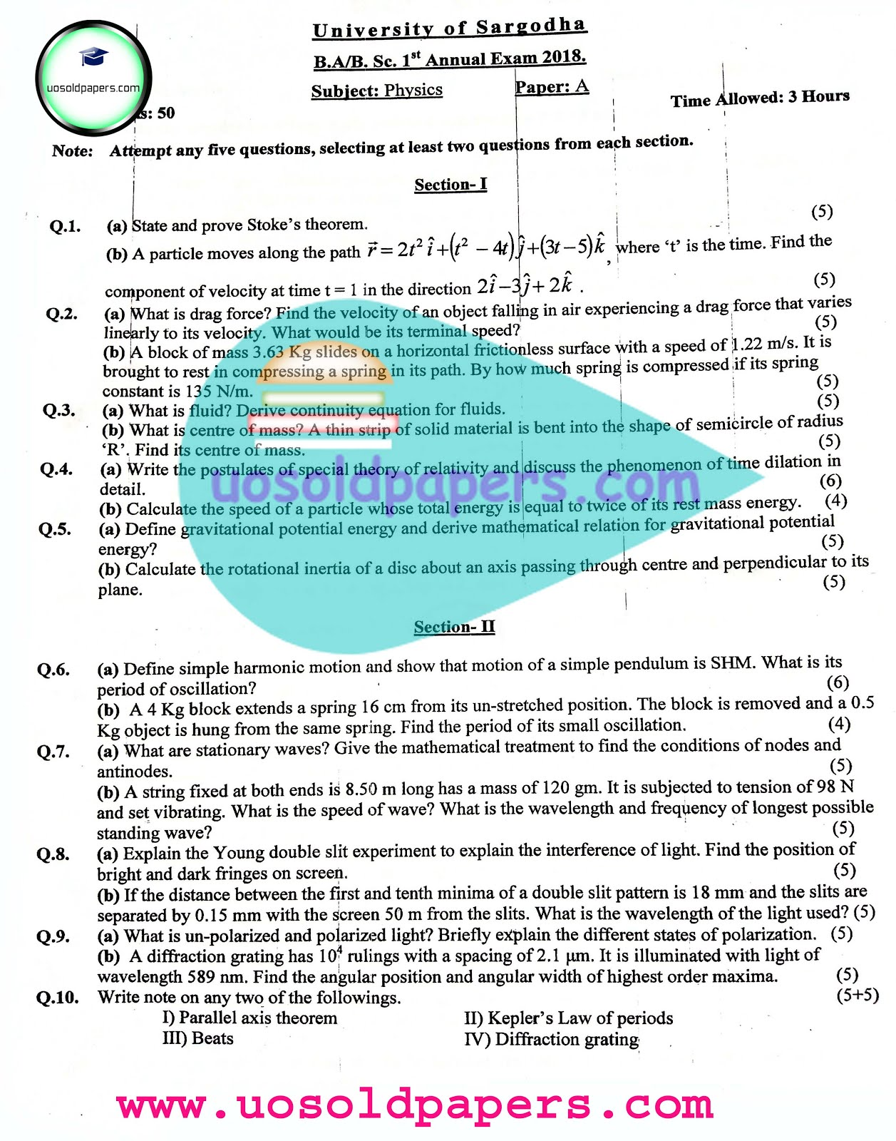 Physics, BA/BSc, First 2018 - UOS Past Papers