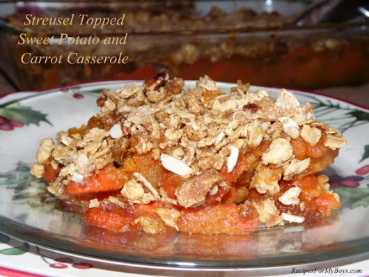 Streusel Topped Sweet Potato and Carrot Casserole
