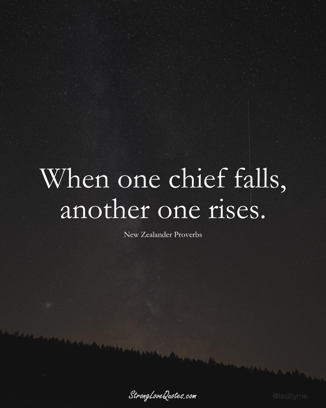 When one chief falls, another one rises. (New Zealander Sayings);  #AustralianSayings