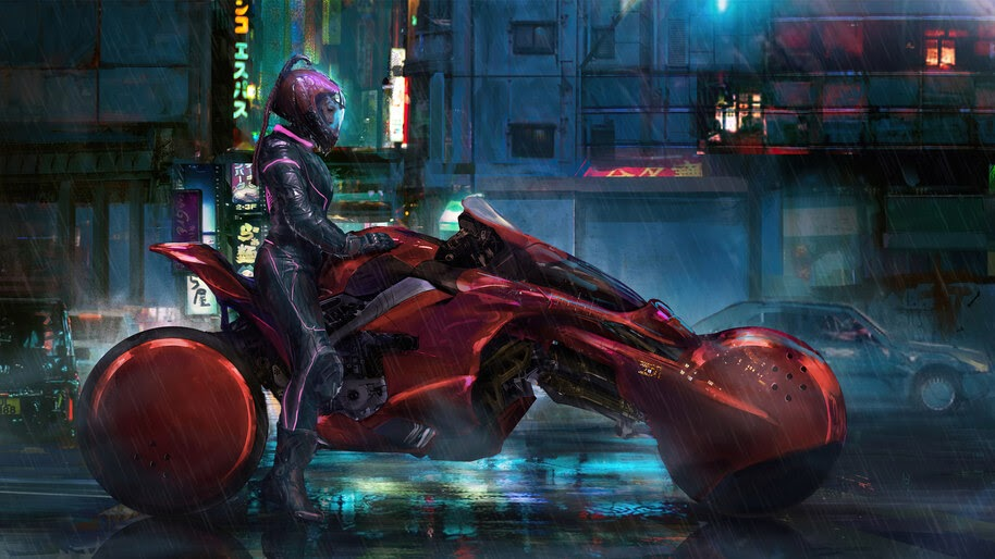 Cyberpunk, Girl, Motorbike, Sci-Fi, 4K, #6.2534