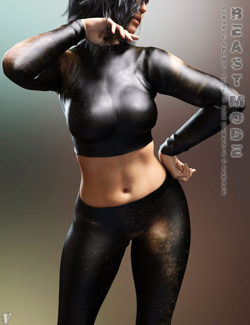 Beast Mode Sporty Outfit for Genesis 8 Female