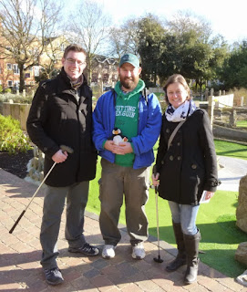 Photo of minigolfers Richard Gottfried, Pat Sheridan and Emily Gottfried at Putt in the Park Mini Golf in Wandsworth, London