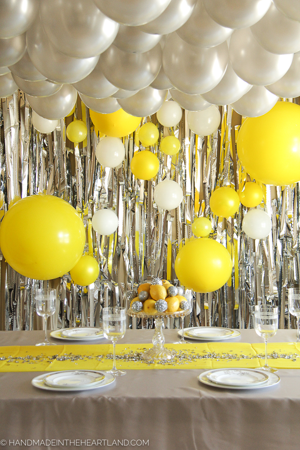 bright yellow and silver new year's party decor