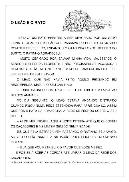 Texto fábula O Leão e o Rato com atividade PDF Grátis