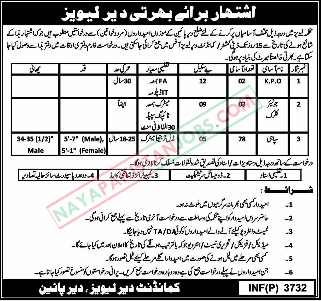 Latest Vacancies Announced in Levies Force DIR 29 September 2018 - Naya Pak Jobs