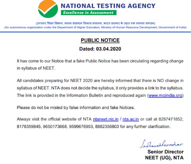 NEET Syllabus 2020 – NTA Notice