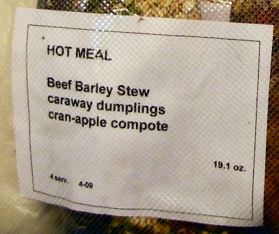 backpacking meal label