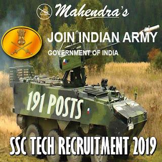 Indian Army SSC Tech Recruitment 2019