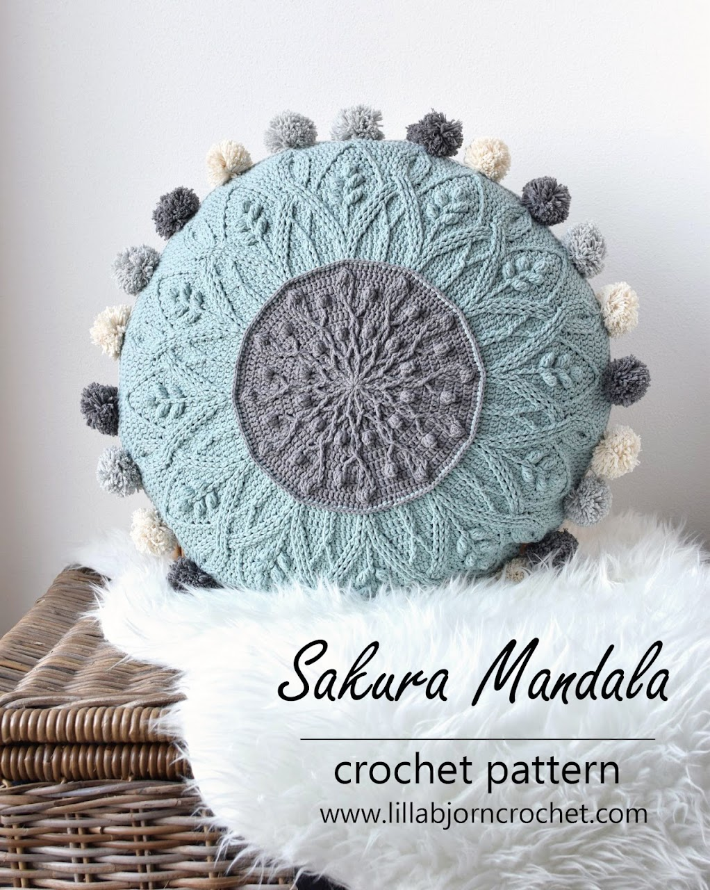 Sakura Cabled Mandala Pillow_crochet pattern by www.lillabjorncrochet.com