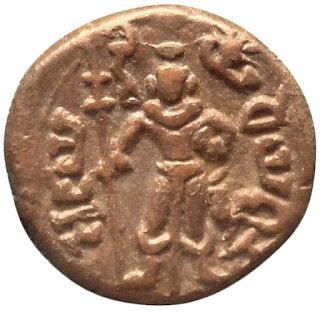 Kartikeya depicted on a Yaudheya coin, 1st century BCE, Punjab, on display at the British Museum