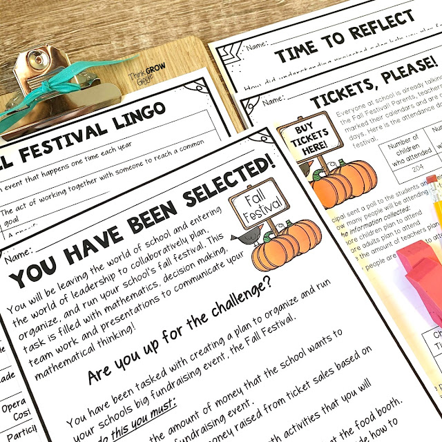 seasonal math activities and problems: Planning a fall festival