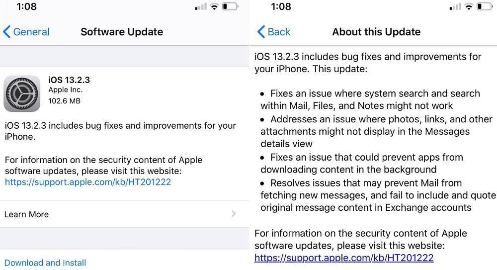 Apple iOS 13.2.3 Features Changelog