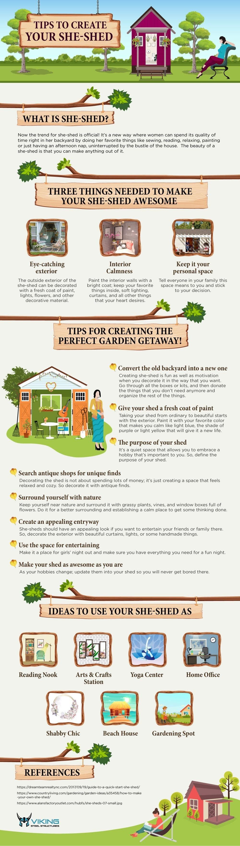 Tips To Create Your She-Shed #infographic