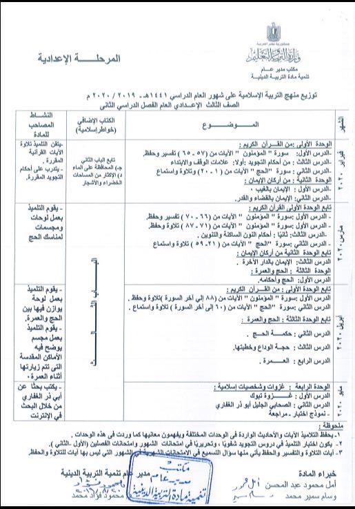توزيع مناهج التربية الدينية الاسلامية لكل الصفوف و المراحل (ابتدائي - اعدادي - ثانوي) للعام الدراسي 2019 / 2020 6