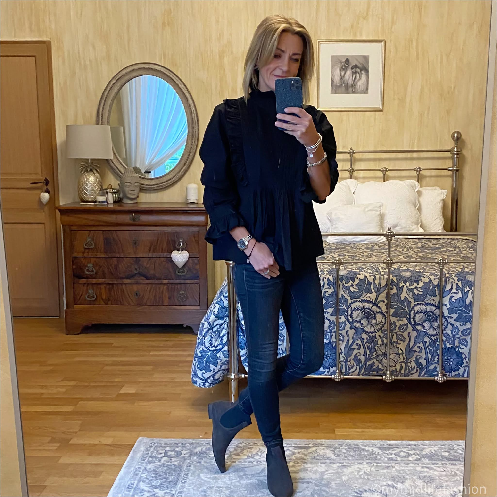 my midlife fashion, rough studios frill blouse, skinny jeans, suede  pixie boots