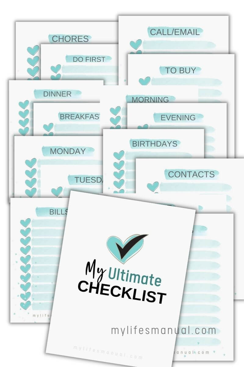 Printable checklists for organizing and tracking things