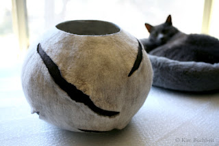 Felted bowl with surface resists by Kim Buchheit.