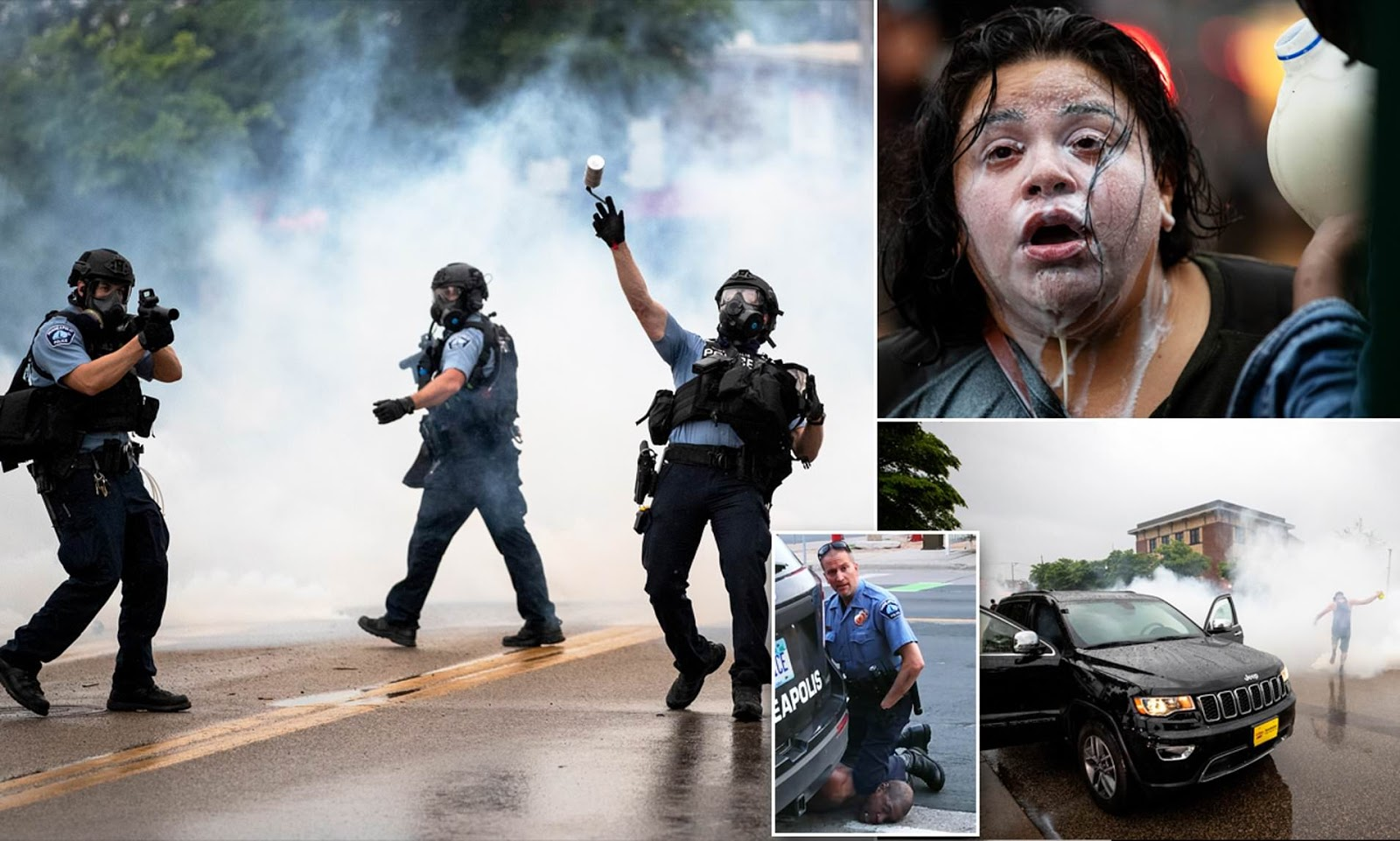 Police in riot gear fire rubber bullets and tear gas at thousands of protestors demanding the arrest of four white Minneapolis cops involved in the death of black man George Floyd