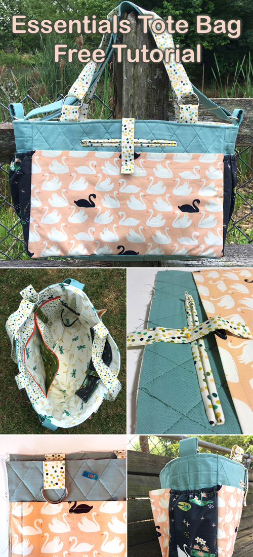 """How to make this handy tote for all of your """"essentials."""" It works for busy parents, and it's a handy bag for just about everyone with errands to run and things to tote!"""