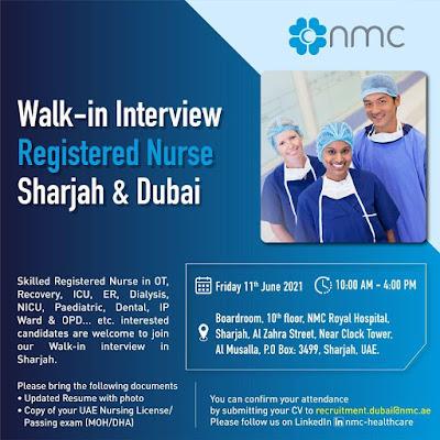 Registered Nurses Walk - In Interview to NMC Hospital, Sharjah & Dubai
