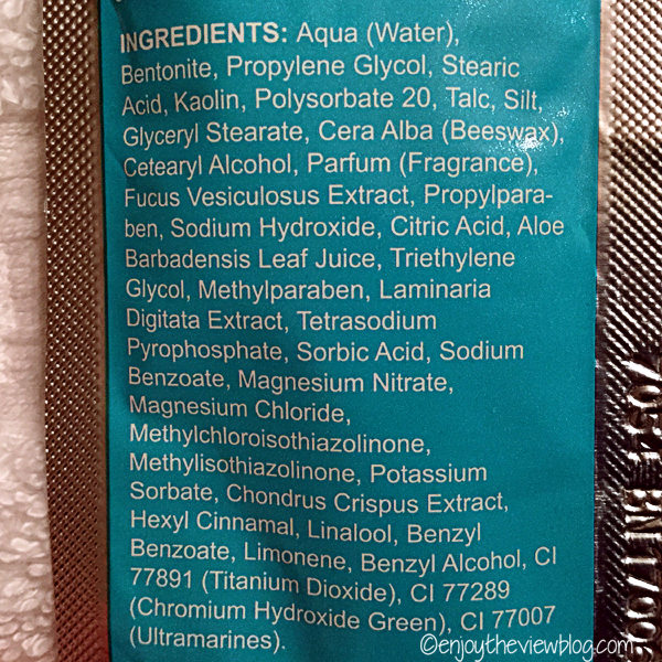 ingredient list for Que Bella Dead Sea Mud mask