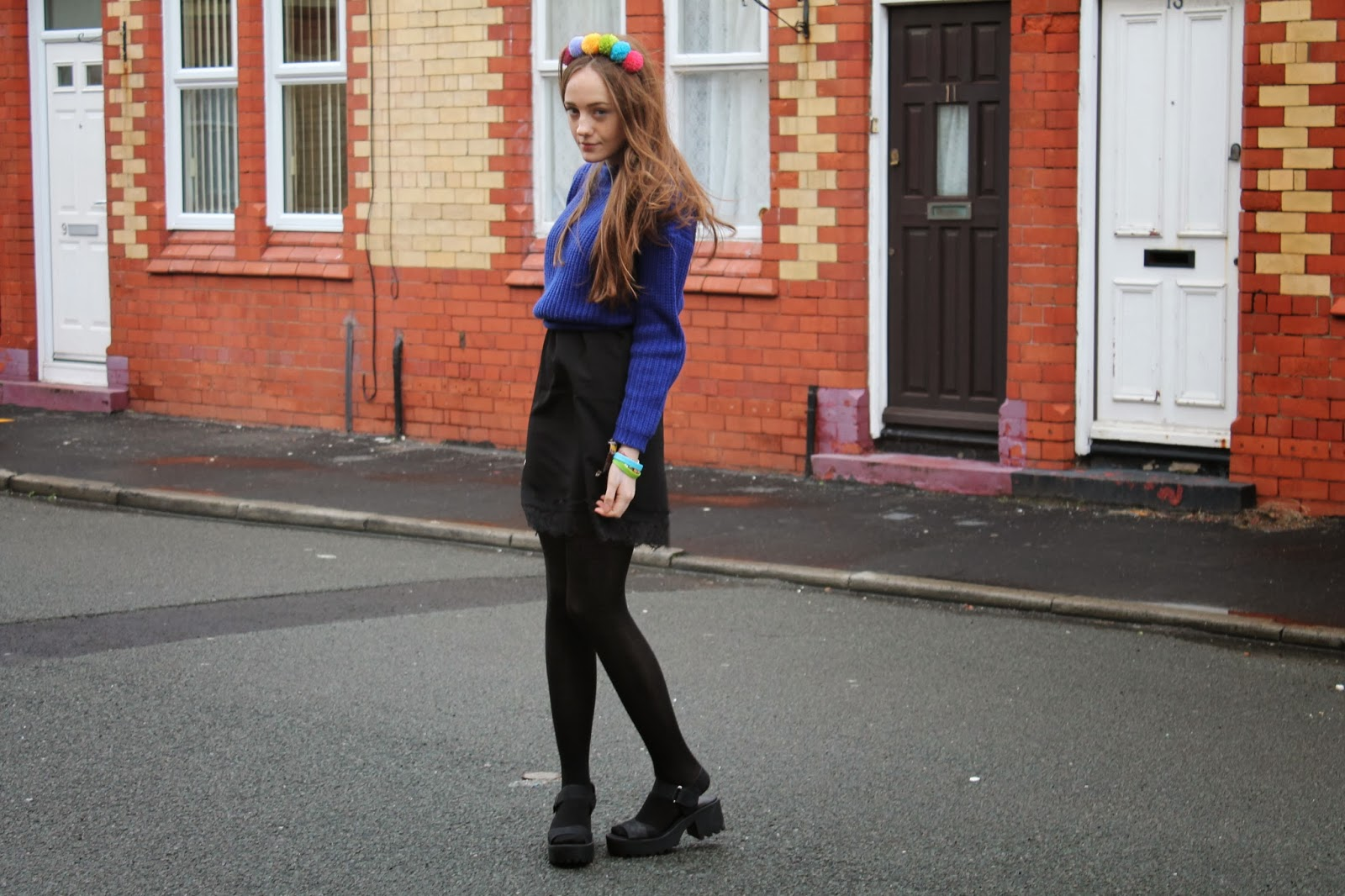 pom pom hairband, asos pompom headband, blue primark rib knit jumper, black asos lace trim slip dress, chunky cleated sole black sandals, jeffrey campbell dupes copies, new look shoes