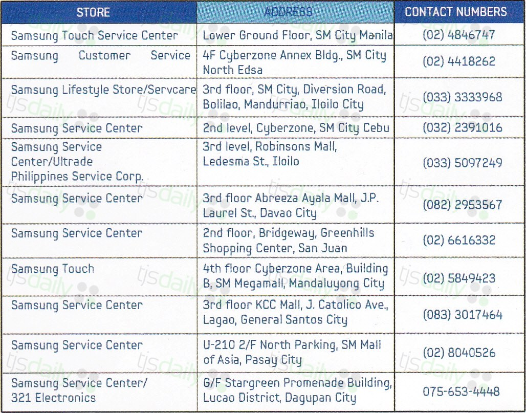 Samsung Service Centers in the Philippines - TJS Daily
