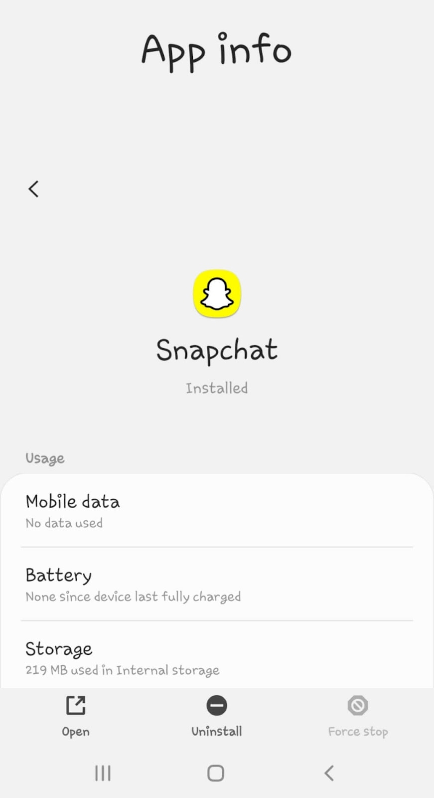 Uninstall Snapchat on Android