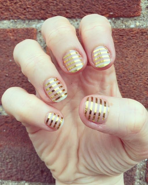 Gold stripe Jamberry Nails