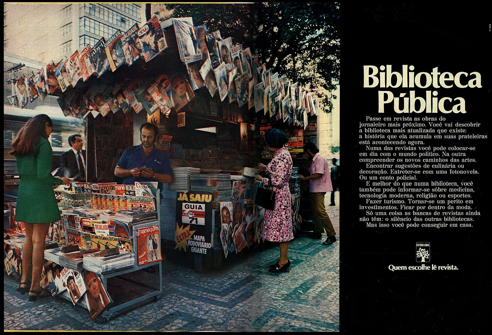Propaganda antiga da Editora Abril promovendo a venda de revistas em bancas no ano de 1971