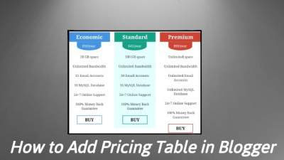 How to Add Pricing Table in Blogger