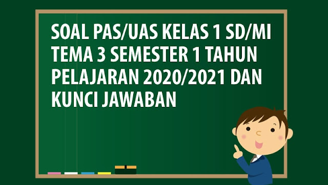 Soal PAS/UAS Kelas 1 SD/MI Tema 3 Semester 1 Tahun 2020