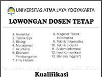 Lowongan Universita Atma Jaya Yoygyakarta (UAJY) sebagai Dosen Tetap Mei 2017