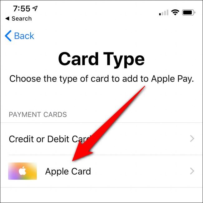 محفظة iPhone حدد بطاقة Apple