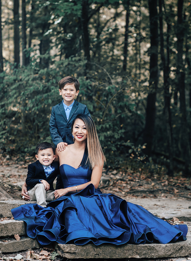 Black Tie Dress, Alyce Paris Dress, Holiday looks for a photo shoot, Mom and Son Photo shoot, Mom and Son what to wear for holiday card