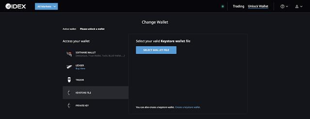 Cara Menghubungkan Dompet dengan Keystore di IDEX