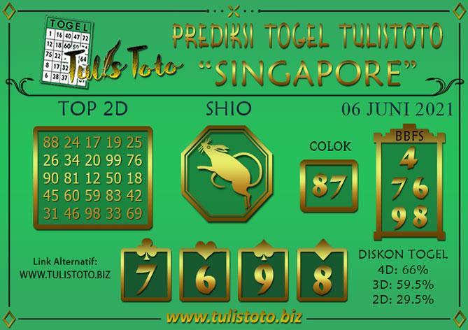 Prediksi Togel SINGAPORE TULISTOTO 06 JUNI 2021