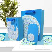 Millefiori Mandala blue gift bag in two sizes.