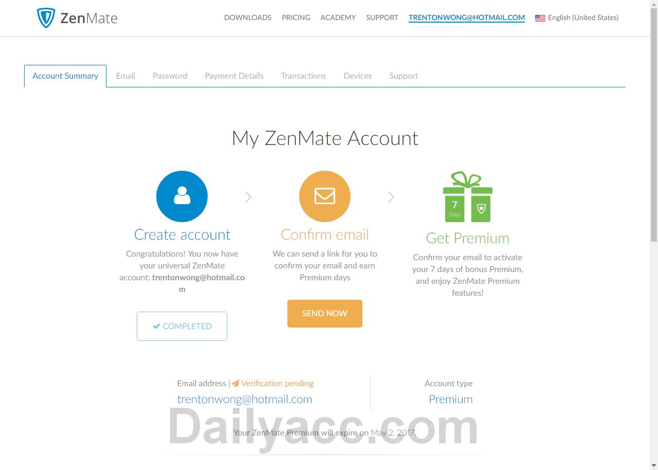 Zenmate.com Premium Account April 24, 2017 Your ZenMate Premium will expire on May 2, 2017.