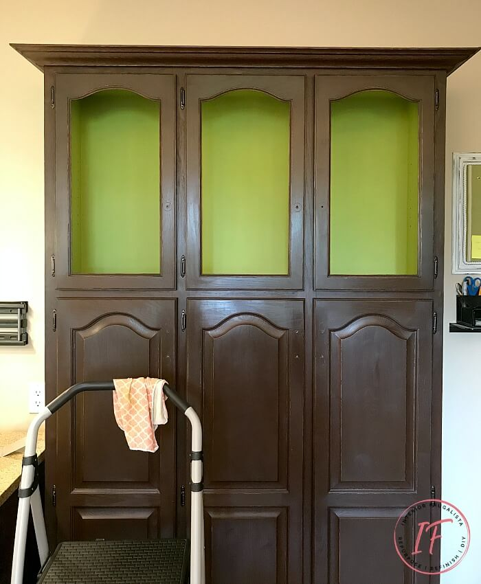 Built-In Kitchen Pantry Makeover Apple Green Interior