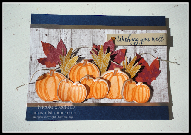 Gather Together card featuring lots of watercolored pumpkins using Stampin' Up!'s watercolor pencils