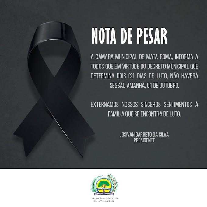 Camara Municipal de Mata Roma - MA publica  Ato Administrativo Nº 08/2021 em moção de pesar pela família de Leandro Pinto de Araujo.